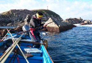 本イベント用のウニをひとつずつ獲るウニ漁(青森県生産者)