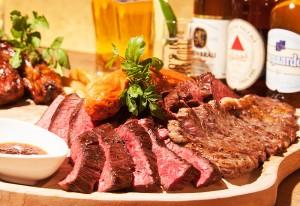 牛肉の炭焼き希少部位ステーキをがっつり!