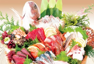 極上鮮魚『超速鮮魚®』等を盛り込む「鮮魚刺盛り(12点盛)」(写真3人前)