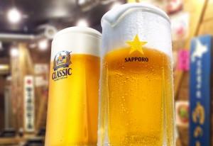 旨いジンギスカンにはサッポロの旨い生ビールが相性抜群!!
