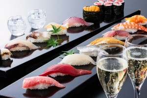 寿司に合わせた旨いお酒も飲み放題