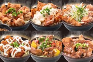 「鶏&豚の合盛り!背脂唐揚げ丼」味変バリエも豊かに!