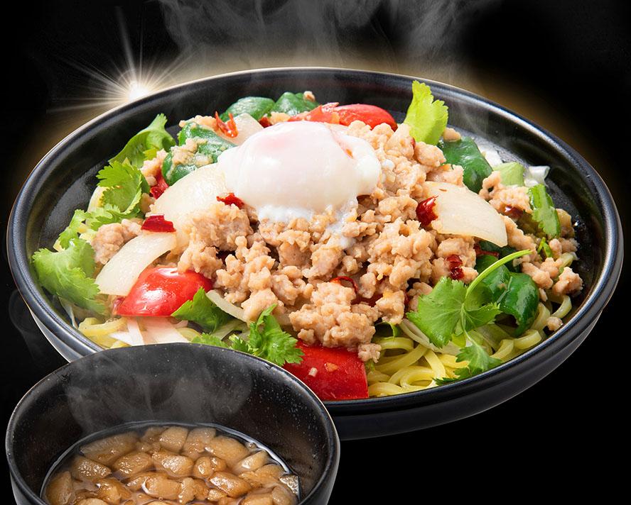 【2倍お得盛】タイ屋台的ガパオまぜそば ※茶色いやつは背脂タレ!スープじゃないよ!麺は冷盛(お好みで温めて)#パクチー抜きOK